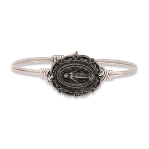 Mother Mary Bangle Bracelet with Silver Charm