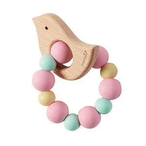 Pink Wood Teether-Bird