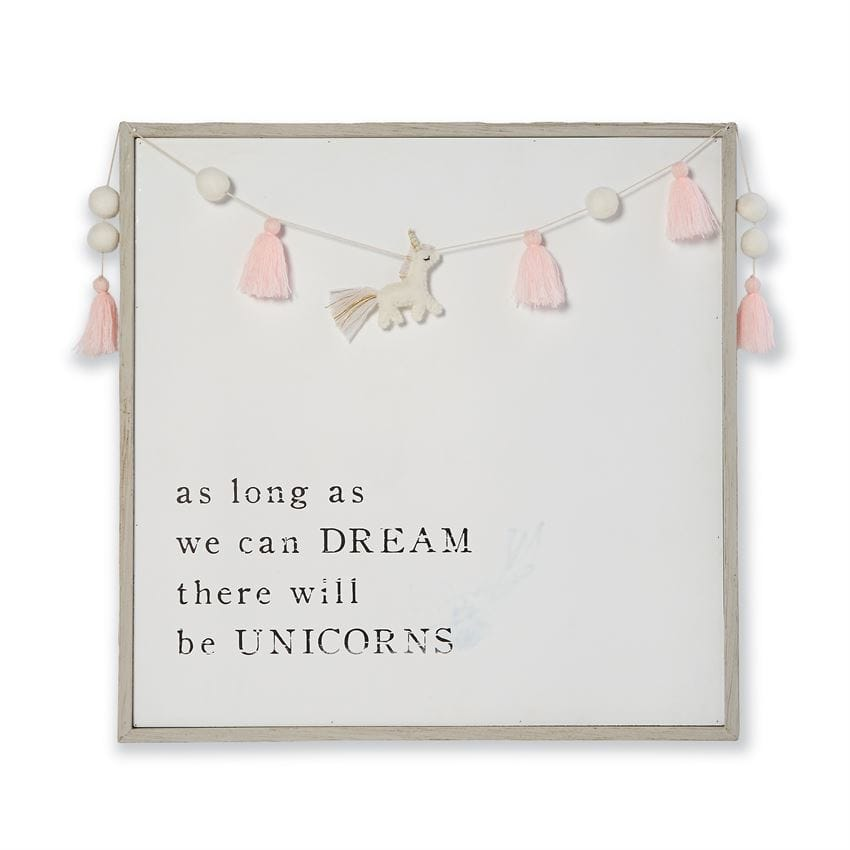 Pom Tassel Unicorn Plaque