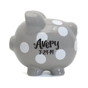 Polka Dot Piggy Bank | Gray