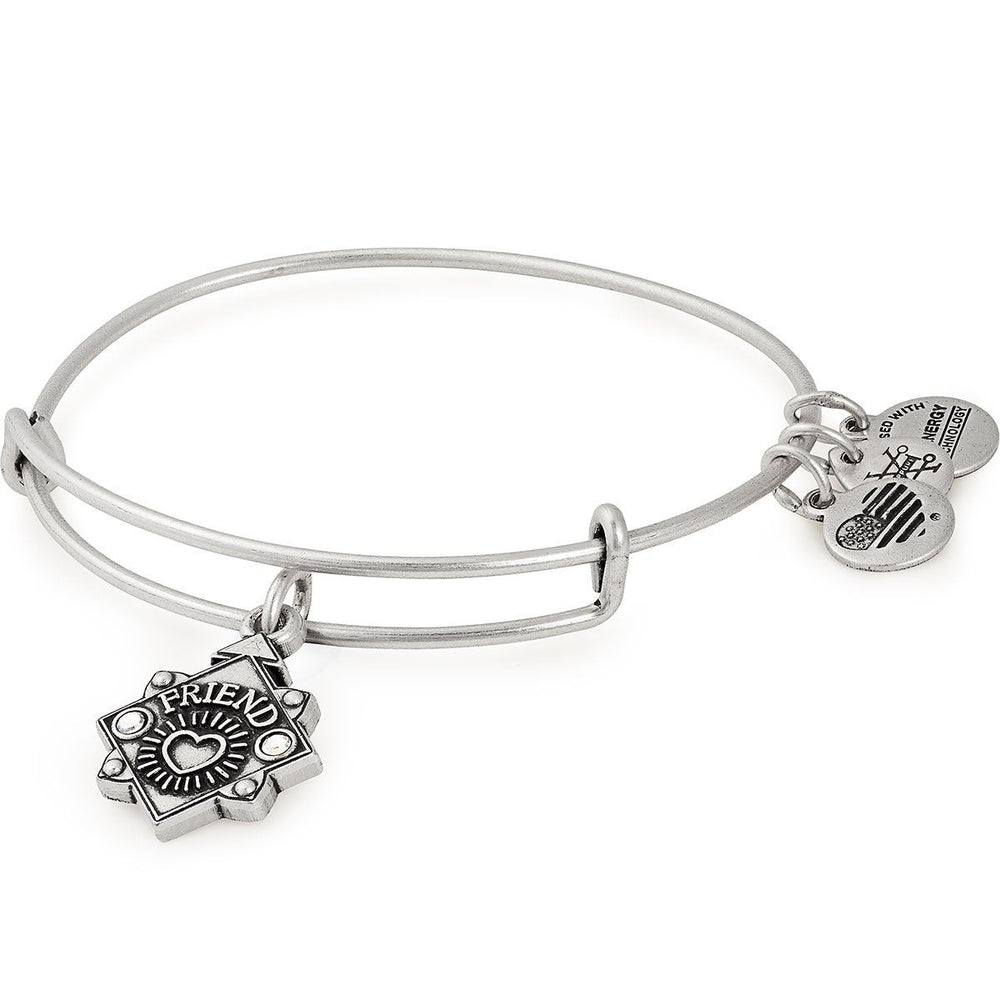 Friend Because I Love You Charm Bangle | Silver