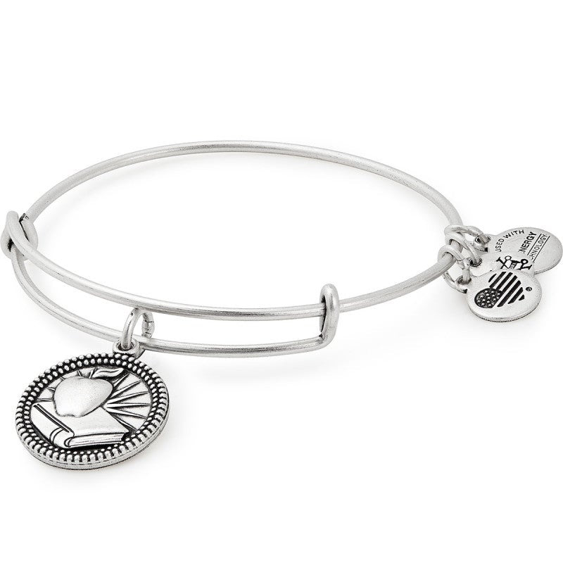 Teacher Charm Bangle | Silver
