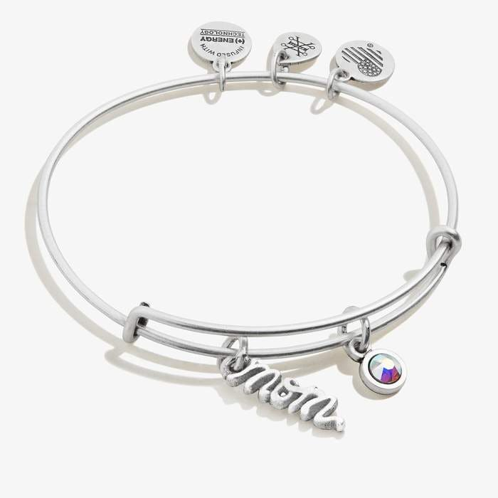 Mom Duo Charm Bangle | Silver