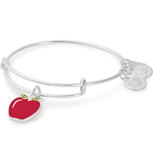 Apple Charm Bangle | Silver