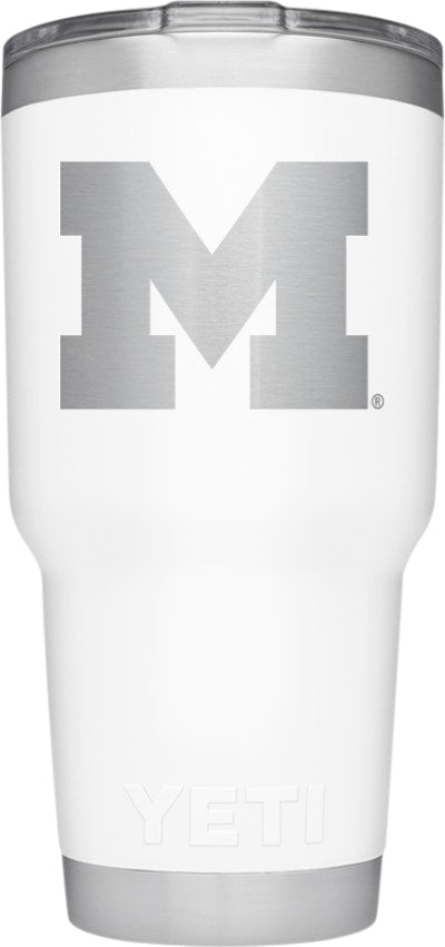 YETI White Collegiate Rambler 30oz Tumbler: University of Michigan