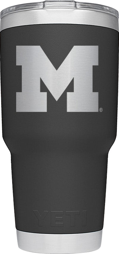 YETI Black Collegiate Rambler 30oz Tumbler: University of Michigan