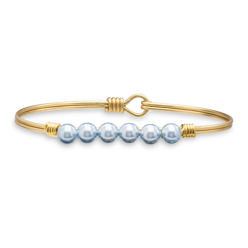 Pearl Bangle Bracelet in Baby Blue