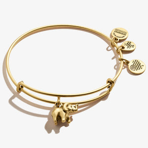 Elephant Charm Bangle | Gold