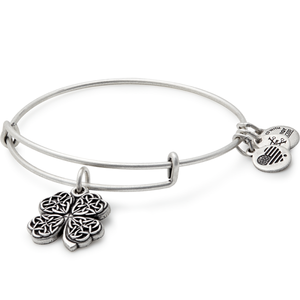 Four Leaf Clover Charm Bangle | Silver