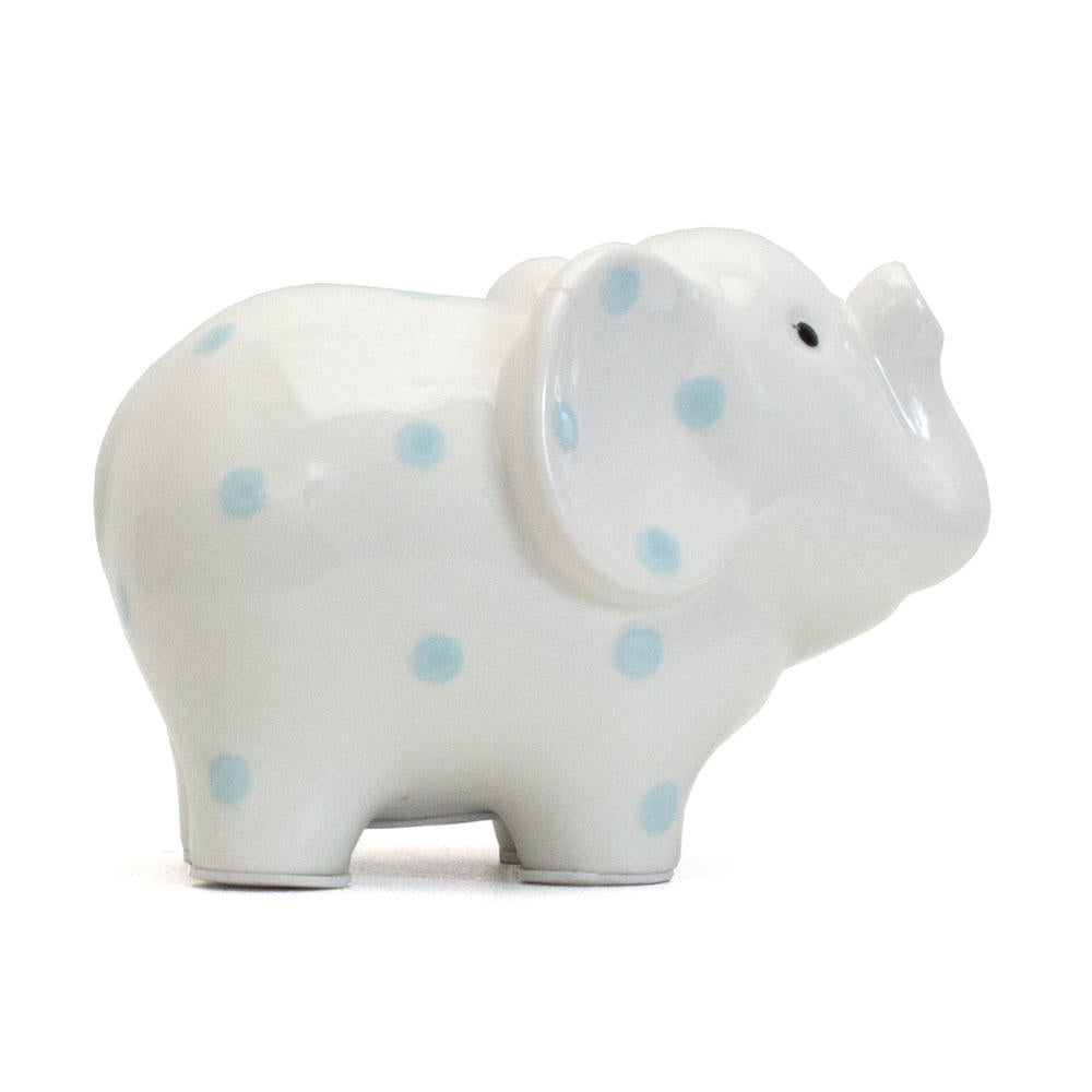 White Elephant Bank with Blue Polka Dots