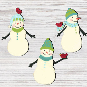 Snowman with Bird Magnets