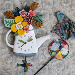 Blossoms Watering Can Pendulum Clock