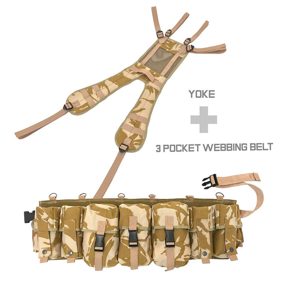 Special Forces Airborne Webbing Set DESERT (3 Pocket Belt + Yoke)