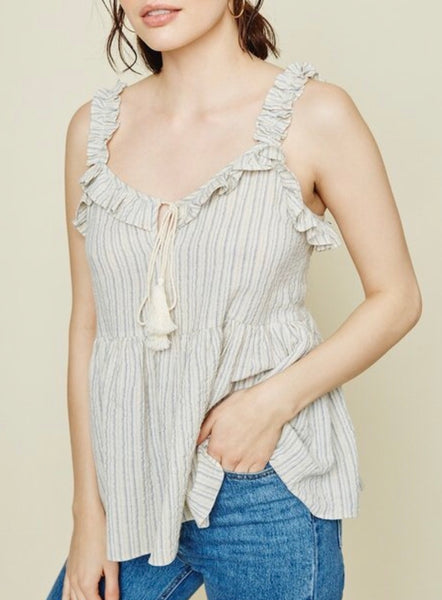 Kali Striped Ruffle Tank