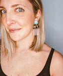 Aubrey Pink & Teal Tortoise Earrings