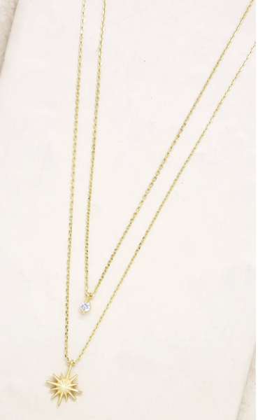 18kt gold plated Brass Cubic Zirconia One entire necklace First layer length: 15 inches Second layer length: 17 inches 2 Inch extender
