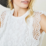 *Scallop Lace fabric *Round Lace Neckline *Lace Trim Sleeves *Back Button Keyhole Closure