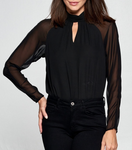 The Abby Keyhole Bodysuit features a luxurious pleated mock neck with front keyhole, romantic long sheer sleeves, bodice in crepe fabric, and keyhole with button closure at back.