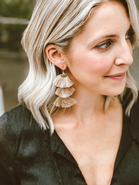 Eliza Three Tier Tassel Earrings