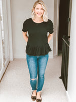Amelia Ruffled Hem Pocket Tee