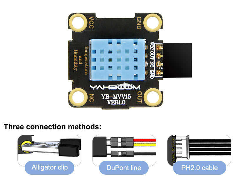 Yahboom Temperature and Humidity Sensor Module compatible with alligator clip/DuPont line/PH2.0 cable