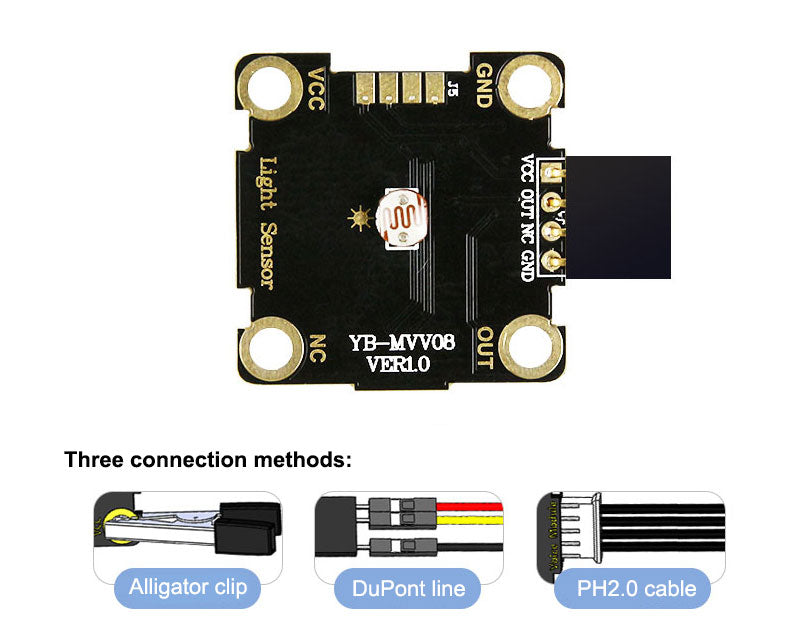 Yahboom Photosensitive sensor module compatible with alligator clip/DuPont line/PH2.0 cable
