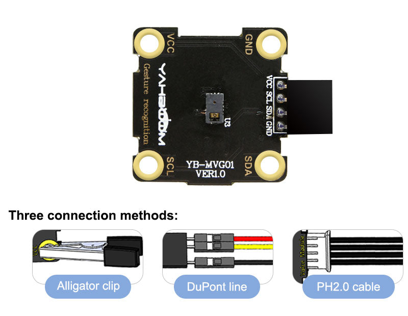 Yahboom Gesture recognition module compatible with alligator clip/DuPont line/PH2.0 cable