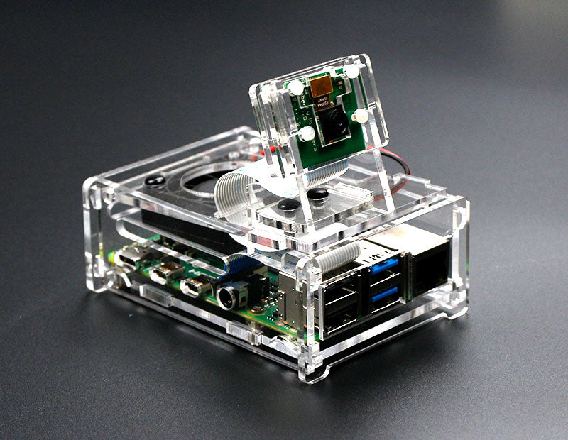 Raspberry Pi 4B acrylic case with cooling fan compatible with 3.5 inch screen and camera
