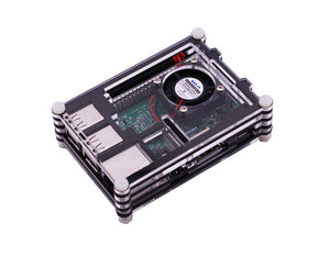 9-layer black acrylic protective case with cooling fan for Raspberry Pi 3B/3B+