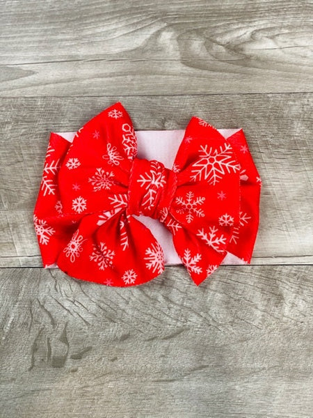 Snowflake Fabric Messy Bow Headband