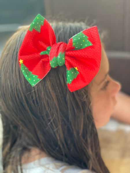 Christmas Tree Bullet Fabric Bow