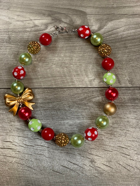 Red Lime & Gold Bow Necklace