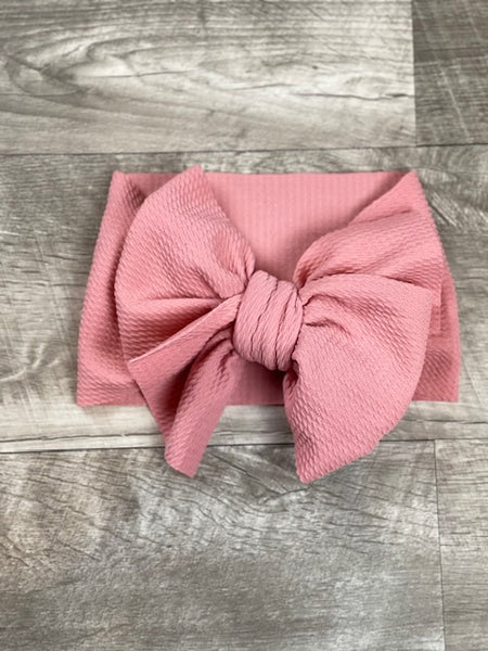 Dusty Rose Fabric Messy Bow Headband