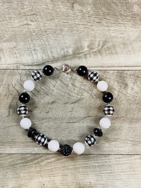 Black & White Plaid Necklace
