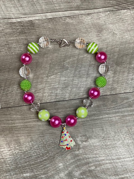 Pink & Lime Christmas Tree Necklace