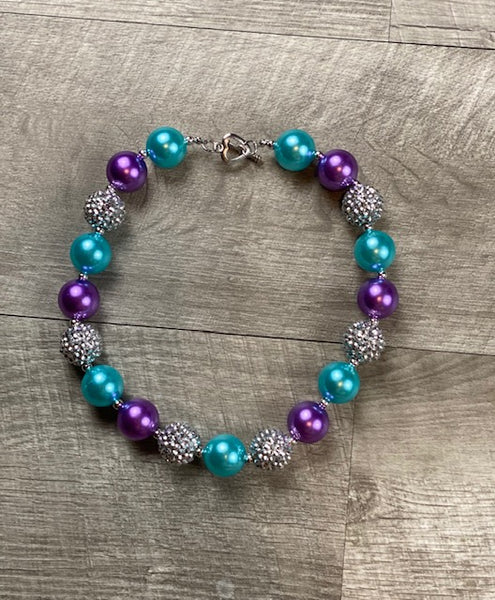 Purple Turquoise & Silver Rhinestone Necklace