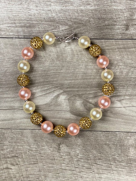 Pearl, Blush & Gold Rhinestone Necklace