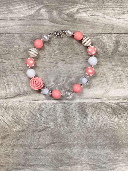 Coral & White Stripe Rose Necklace