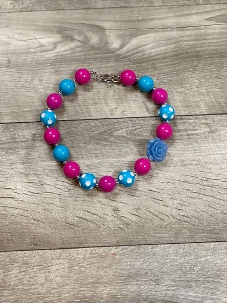 Hot Pink & Blue Necklace