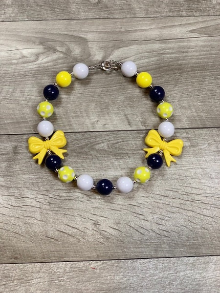 Yellow, Navy & White Necklace