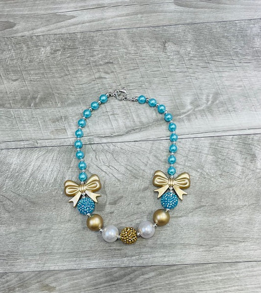 Turquoise & Gold Bow Necklace