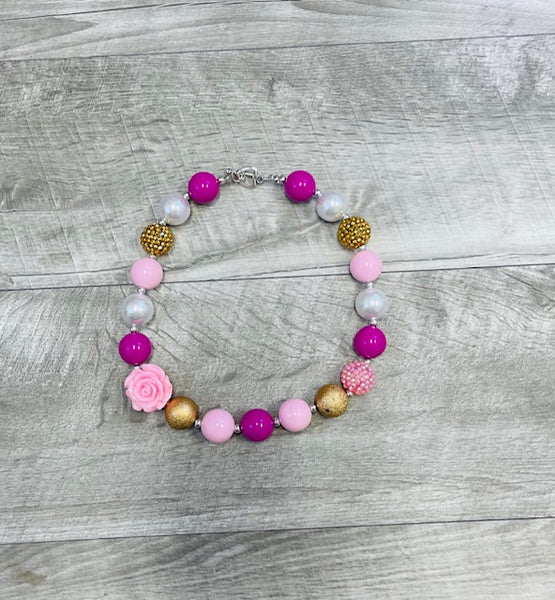 Pink & Gold Rose Necklace
