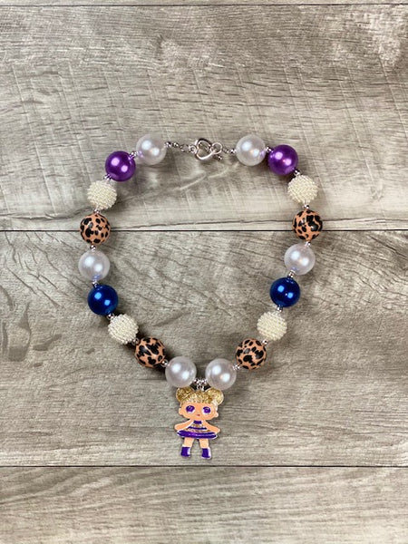 Purple Cheetah Doll Necklace