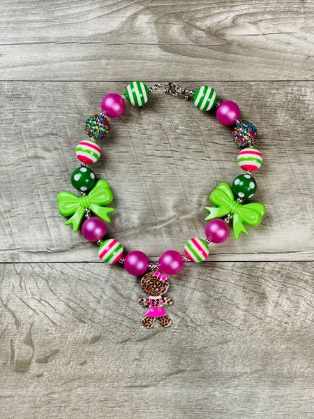 Pink & Lime Gingerbread Girl Necklace