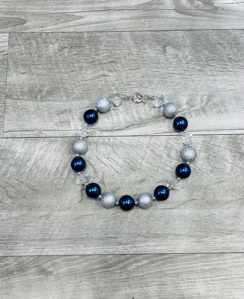Navy Clear & Silver Necklace