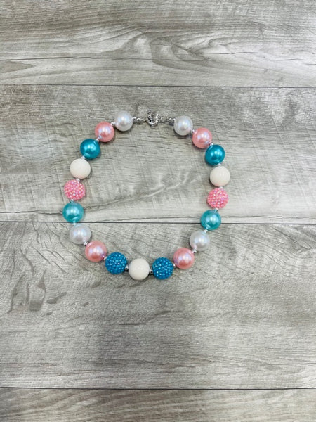 Pink Blue & Pearl Necklace