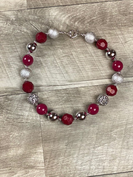 Burgundy & Silver Necklace