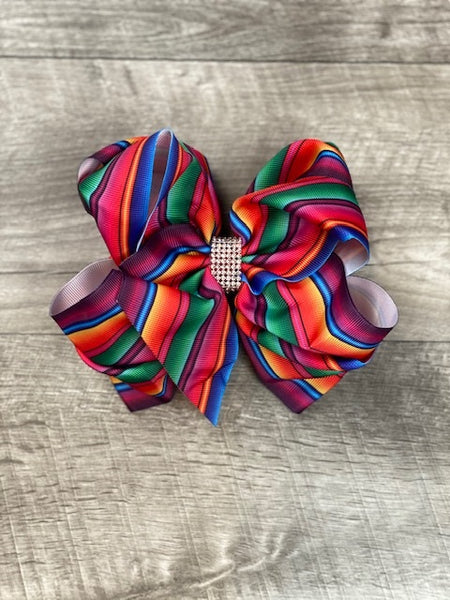 Double Stacked Serape Rhinestone Bow