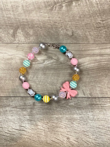 Aqua, Yellow & Pink Bow Rhinestone Necklace
