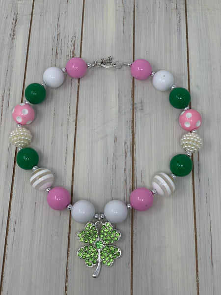 Pink and Green Shamrock pendant Necklace